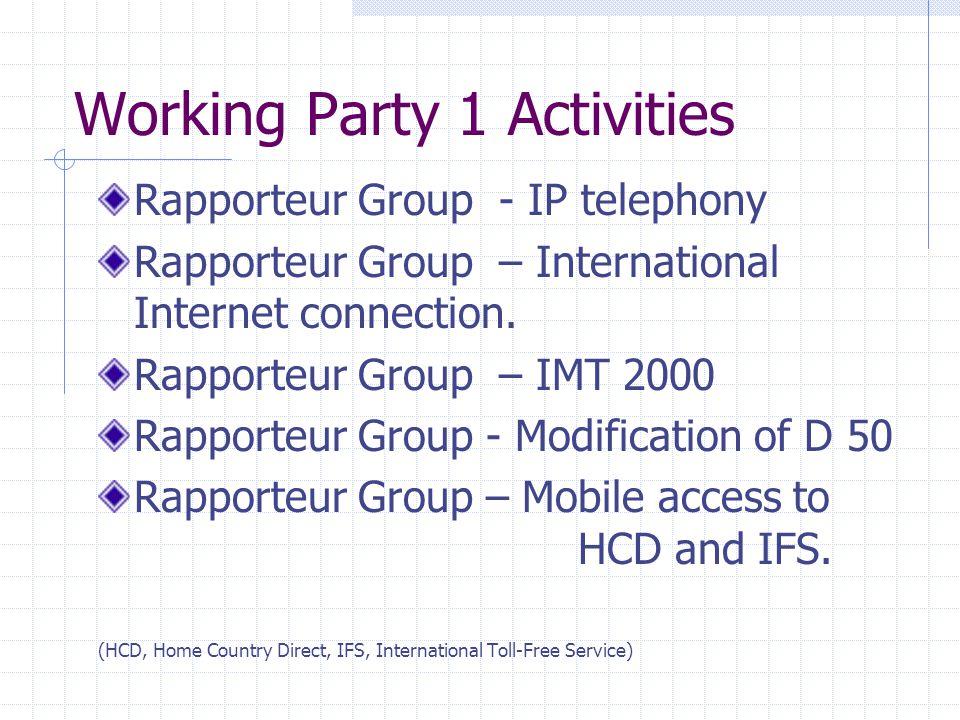 Working Party 1 Activities Rapporteur Group - IP telephony Rapporteur Group – International Internet connection.