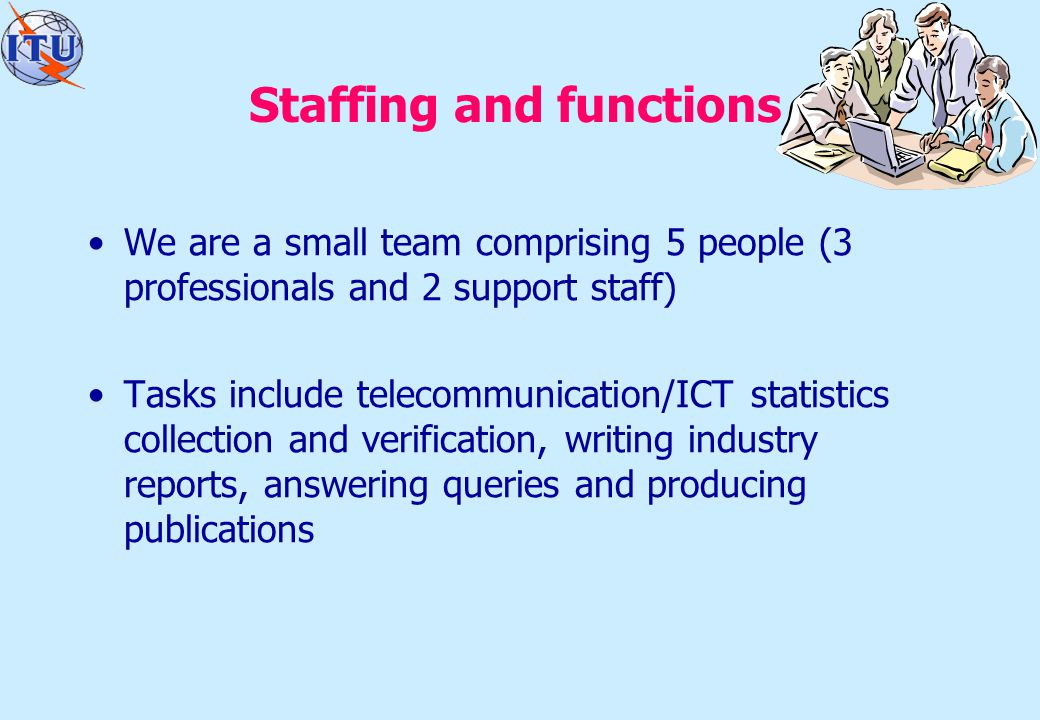 Staffing and functions We are a small team comprising 5 people (3 professionals and 2 support staff) Tasks include telecommunication/ICT statistics collection and verification, writing industry reports, answering queries and producing publications