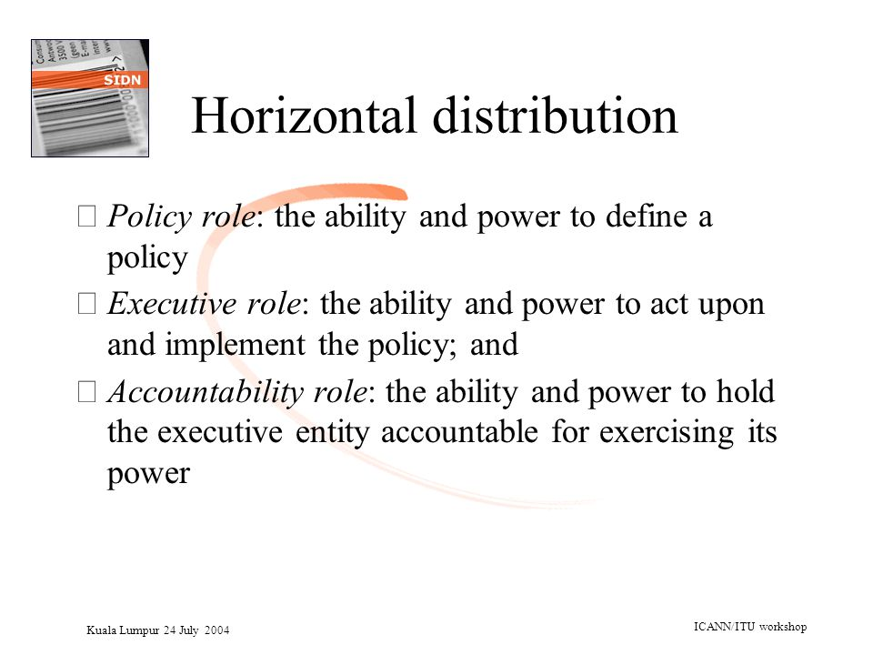Kuala Lumpur 24 July 2004 ICANN/ITU workshop Horizontal distribution •Policy role: the ability and power to define a policy •Executive role: the abili