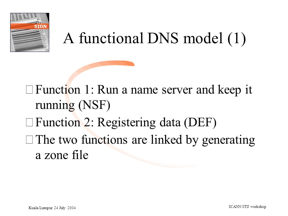 Kuala Lumpur 24 July 2004 ICANN/ITU workshop A functional DNS model (1) •Function 1: Run a name server and keep it running (NSF) •Function 2: Register