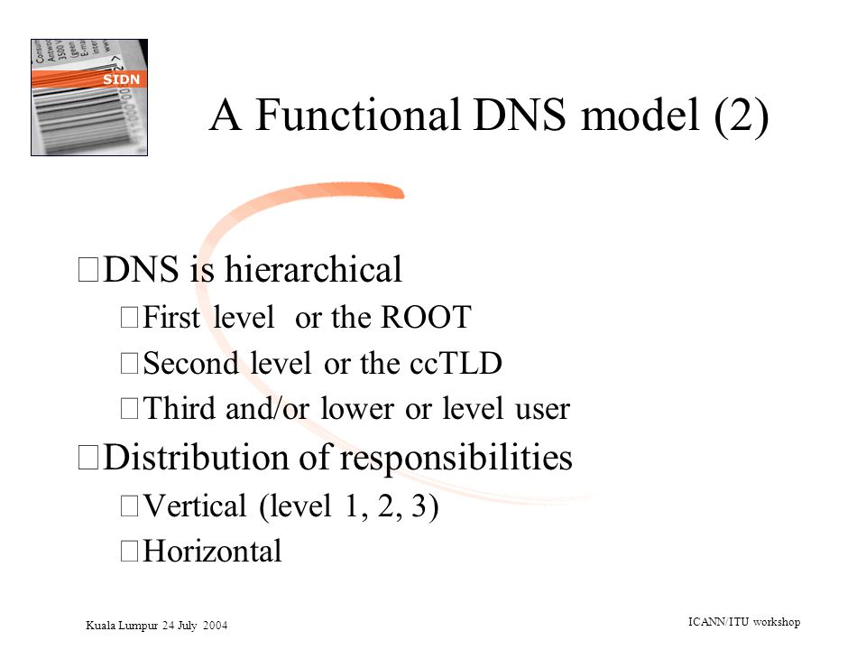 Kuala Lumpur 24 July 2004 ICANN/ITU workshop A Functional DNS model (2) •DNS is hierarchical –First level or the ROOT –Second level or the ccTLD –Thir