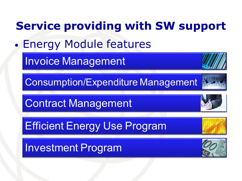 Service providing with SW support Energy Module features Invoice Management Efficient Energy Use Program Investment Program Consumption/Expenditure Management Contract Management
