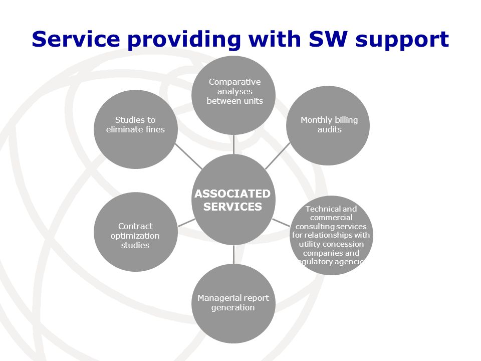 Service providing with SW support ASSOCIATED SERVICES Studies to eliminate fines Contract optimization studies Comparative analyses between units Monthly billing audits Technical and commercial consulting services for relationships with utility concession companies and regulatory agencies Managerial report generation