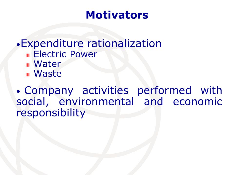 Motivators Expenditure rationalization Electric Power Water Waste Company activities performed with social, environmental and economic responsibility