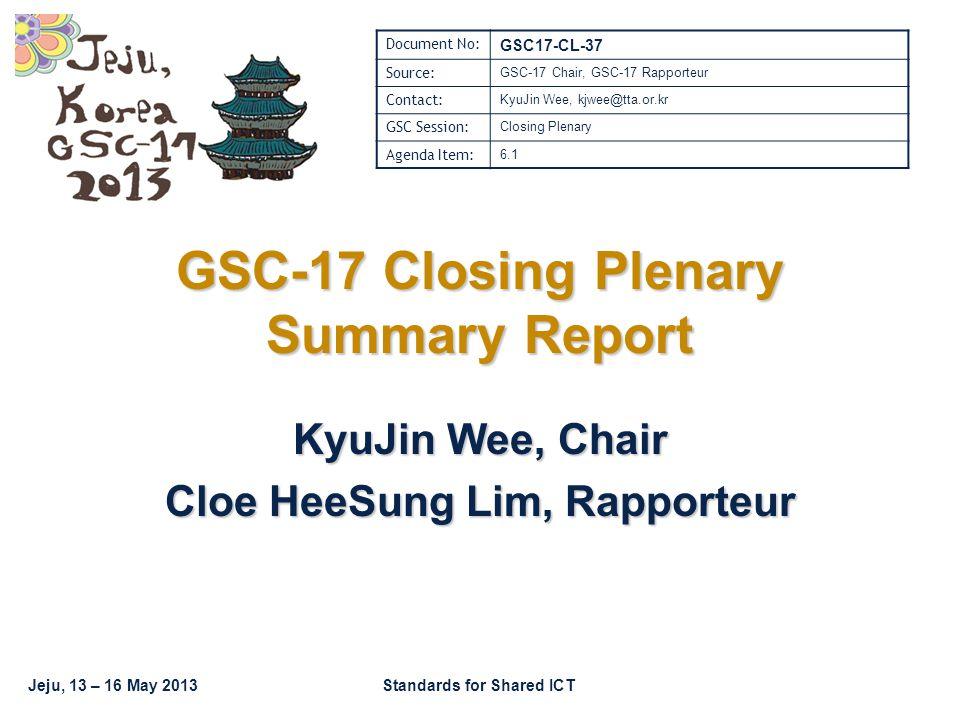 GSC17-CL-37 GSC-17, Jeju / Korea 2 GSC-17 Schedule