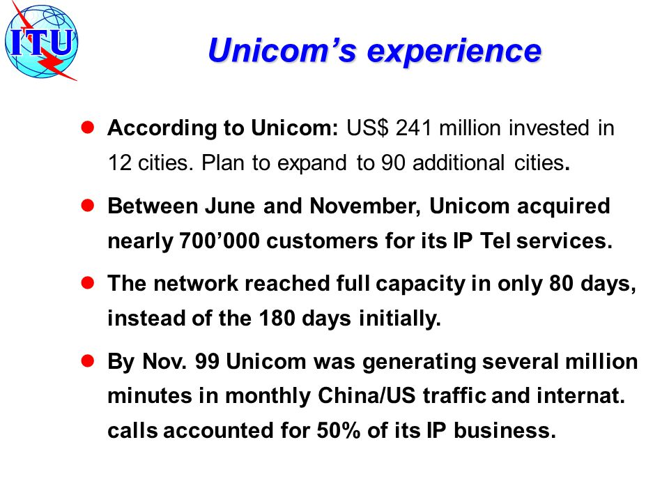 According to Unicom: US$ 241 million invested in 12 cities.