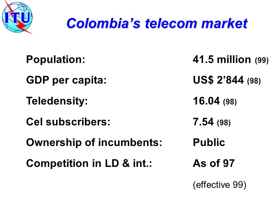 Population:41.5 million (99) GDP per capita:US$ 2'844 (98) Teledensity:16.04 (98) Cel subscribers:7.54 (98) Ownership of incumbents:Public Competition in LD & int.: As of 97 (effective 99) Colombia's telecom market