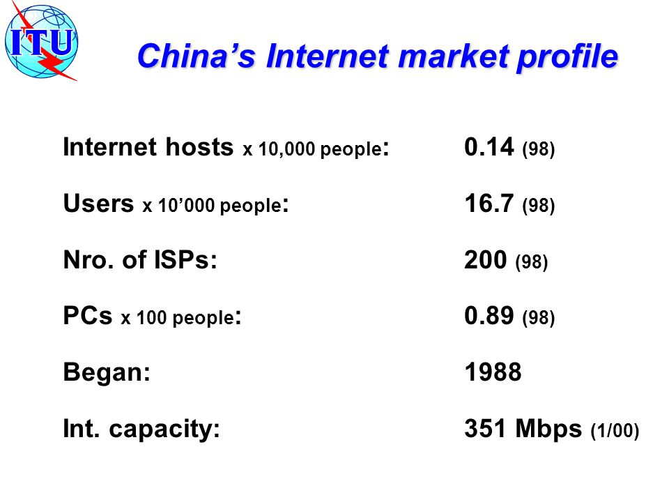 MII predicts that China s IP market will reach US$12 billion by the end of 2000 IP Tel operators predict: international calls over the Internet 10% by 2000 - 35 % by 2003 Post trial business plans: Unicom and Jitong to deploy 300 E1s each China Telecom to deploy 1,000 E1s Where is the market going