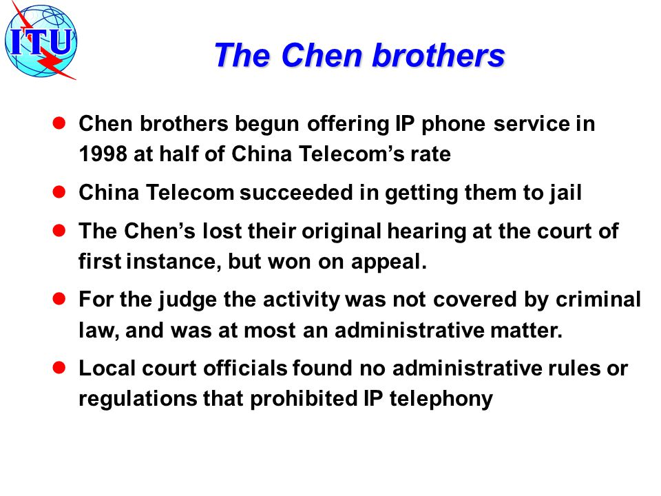 MII licensed 3 operators in April 1999 for a 6 month trial in 26 cities These licenses ended a de facto long distance and legal international monopoly by China Telecom Four IP Tel licenses granted in March 2000 China Telecom China Unicom Jitong Communications China Netcom Forthcoming IP Tel license to China Mobile.