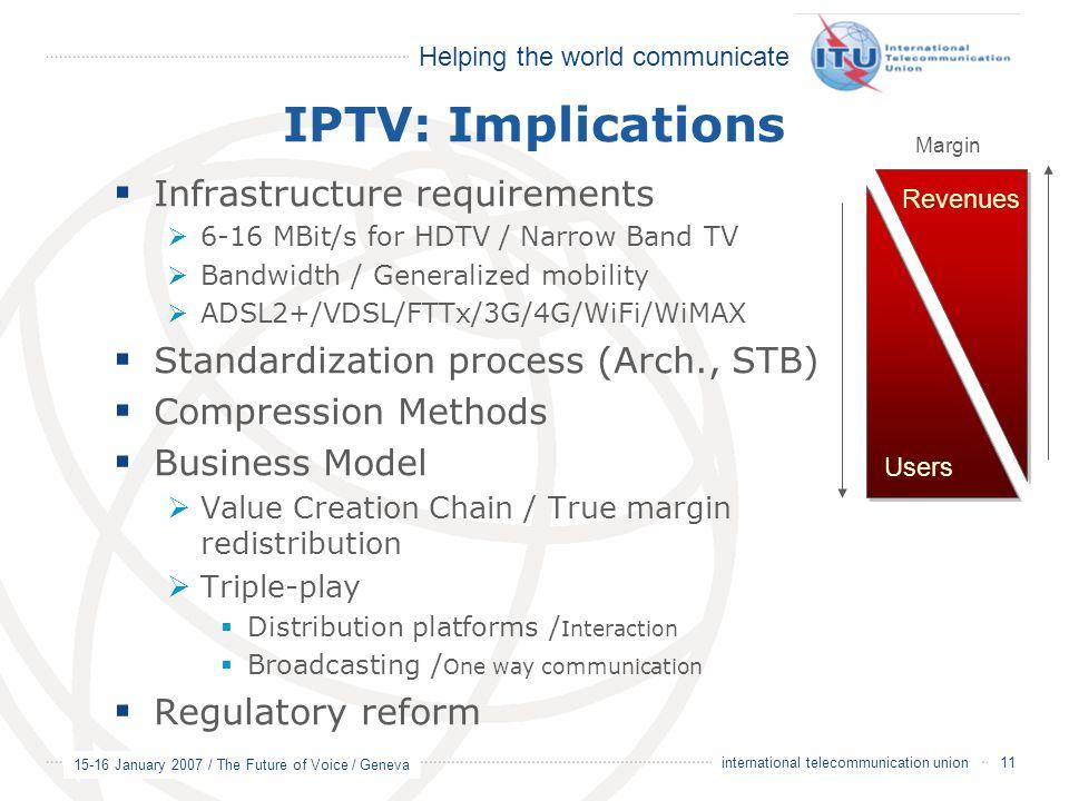 Helping the world communicate 15-16 January 2007 / The Future of Voice / Geneva 11 international telecommunication union IPTV: Implications  Infrastr