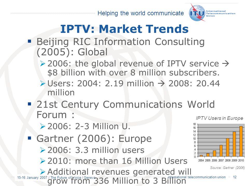 Helping the world communicate 15-16 January 2007 / The Future of Voice / Geneva 12 international telecommunication union IPTV: Market Trends  Beijing