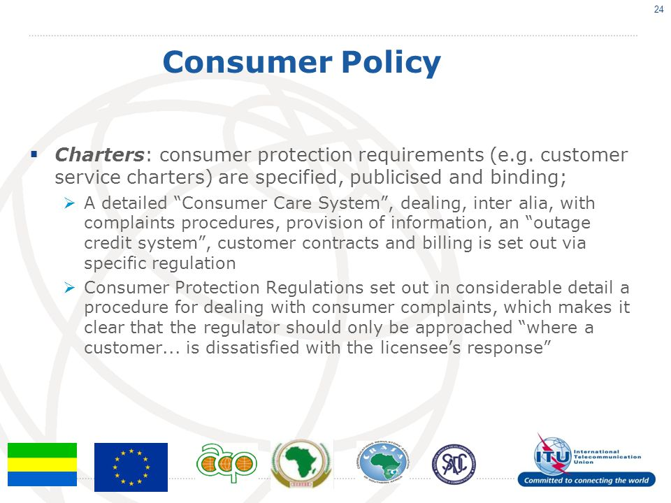 Consumer Policy  Charters: consumer protection requirements (e.g.