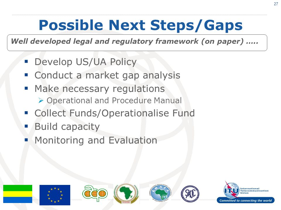 Possible Next Steps/Gaps  Develop US/UA Policy  Conduct a market gap analysis  Make necessary regulations  Operational and Procedure Manual  Coll