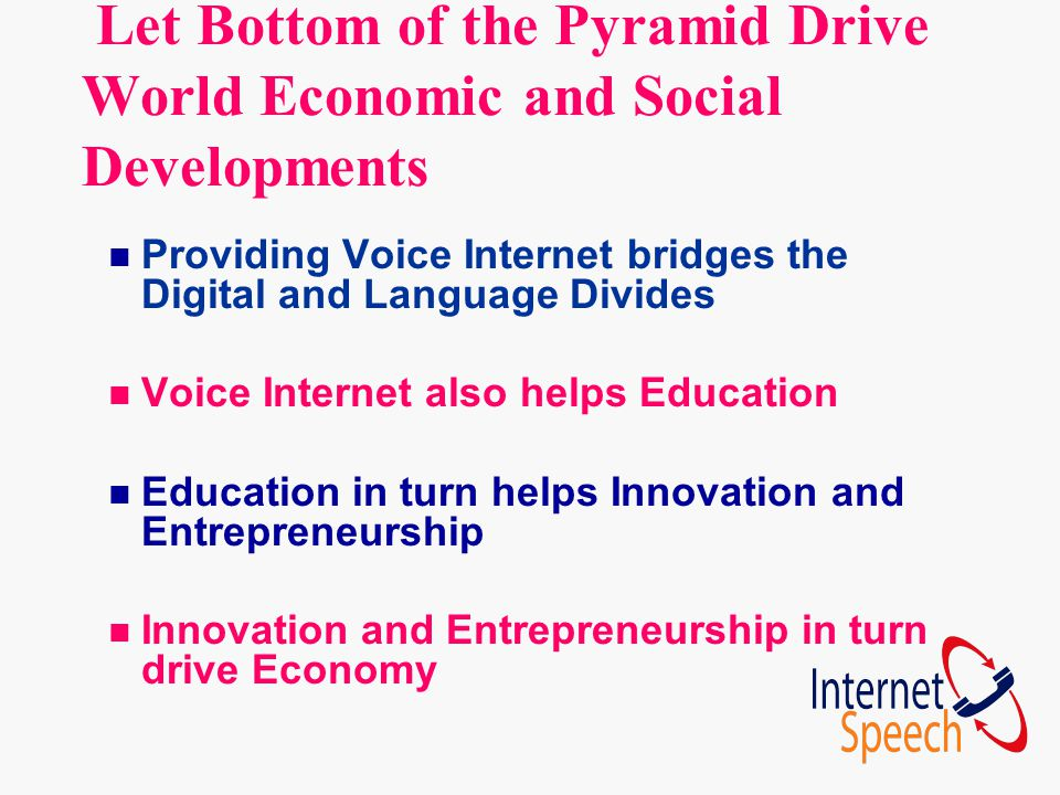 Let Bottom of the Pyramid Drive World Economic and Social Developments n Providing Voice Internet bridges the Digital and Language Divides n Voice Int