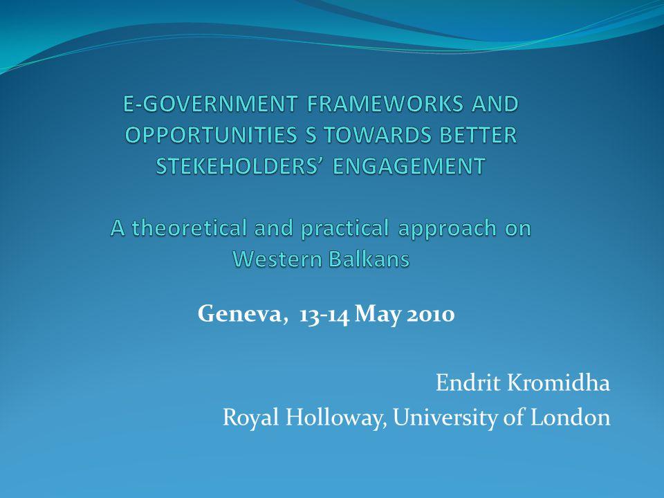 Content I.E-government engagement frameworks and evaluation II.