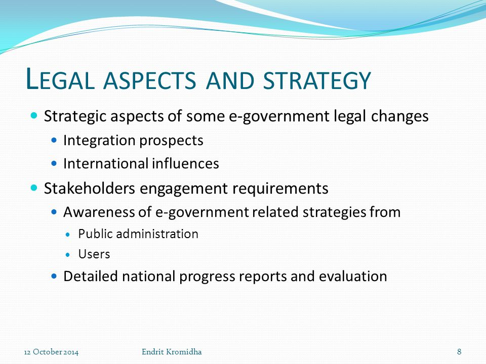 L EGAL ASPECTS AND STRATEGY Project Leading org.