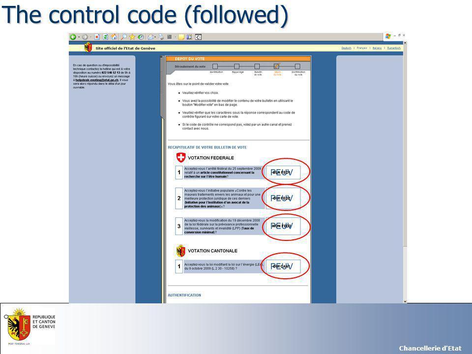 Chancellerie d Etat The control code (followed)