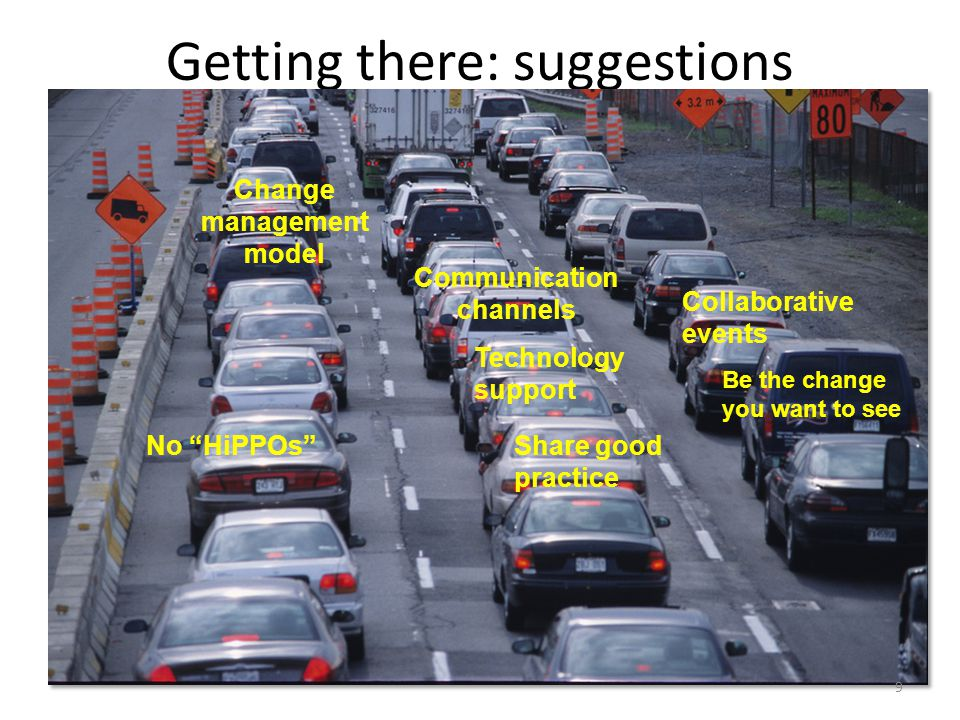 Getting there: suggestions Diagram of highway – Risk – 2 sets of rules – Leadership – Policy response – Information management – Privacy – security Change management model No HiPPOs Be the change you want to see Technology support Share good practice Communication channels Collaborative events 9