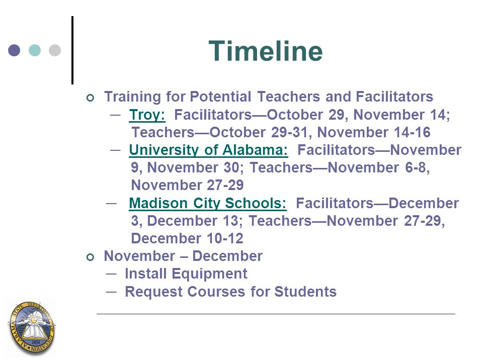Timeline Training for Potential Teachers and Facilitators ─ Troy: Facilitators—October 29, November 14; Teachers—October 29-31, November 14-16 ─ University of Alabama: Facilitators—November 9, November 30; Teachers—November 6-8, November 27-29 ─ Madison City Schools: Facilitators—December 3, December 13; Teachers—November 27-29, December 10-12 November – December ─ Install Equipment ─ Request Courses for Students