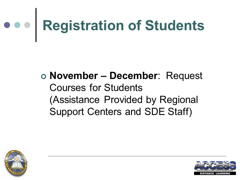 Registration of Students November – December: Request Courses for Students (Assistance Provided by Regional Support Centers and SDE Staff)