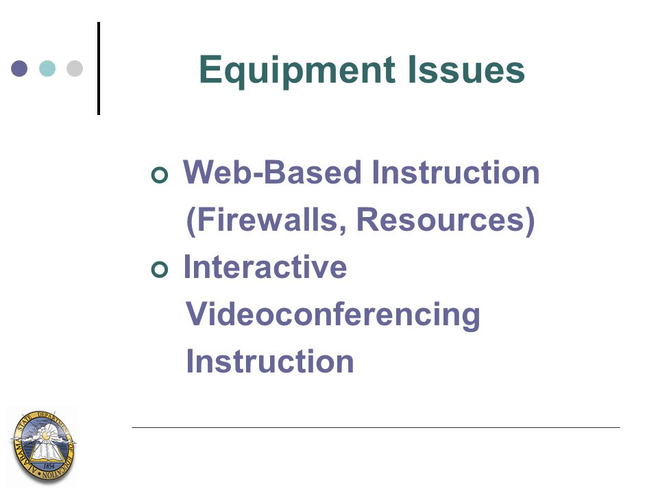 Equipment Issues Web-Based Instruction (Firewalls, Resources) Interactive Videoconferencing Instruction
