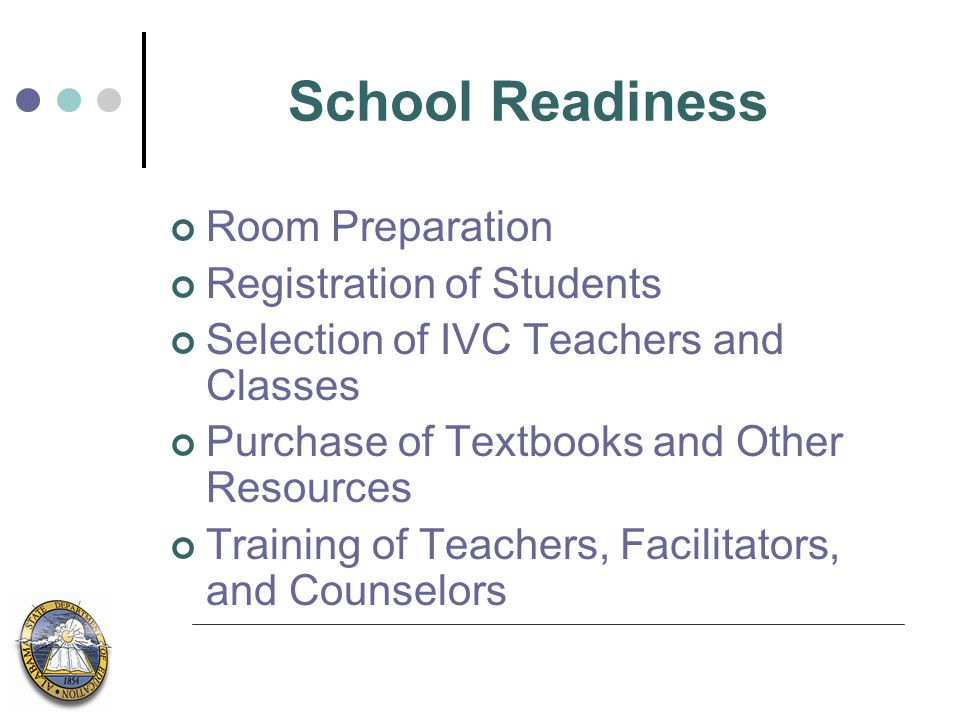 School Readiness Room Preparation Registration of Students Selection of IVC Teachers and Classes Purchase of Textbooks and Other Resources Training of Teachers, Facilitators, and Counselors