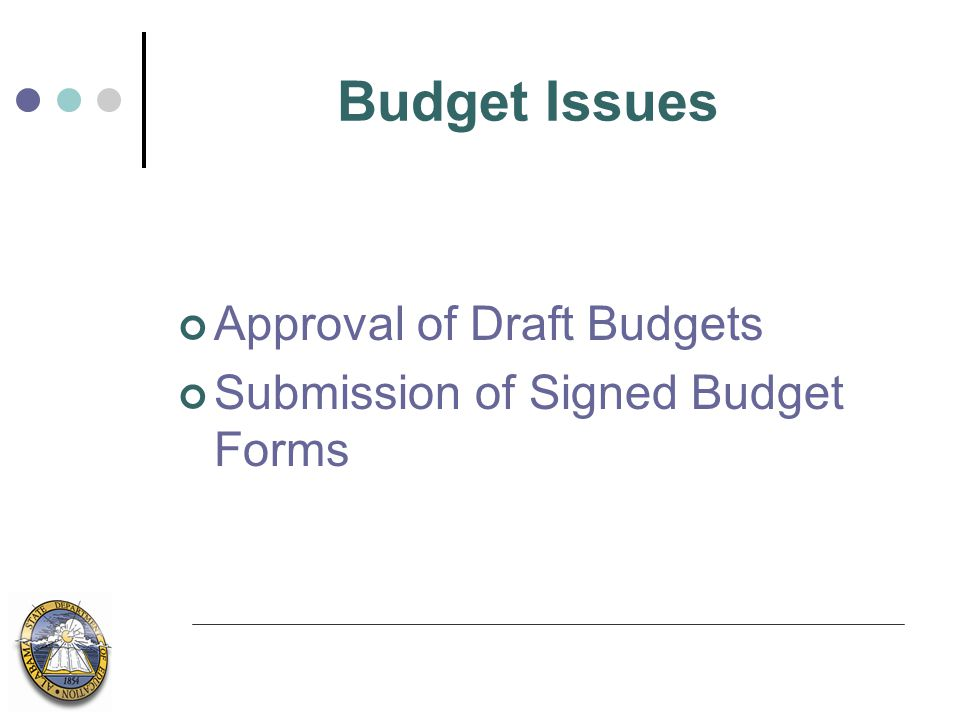Budget Issues Approval of Draft Budgets Submission of Signed Budget Forms