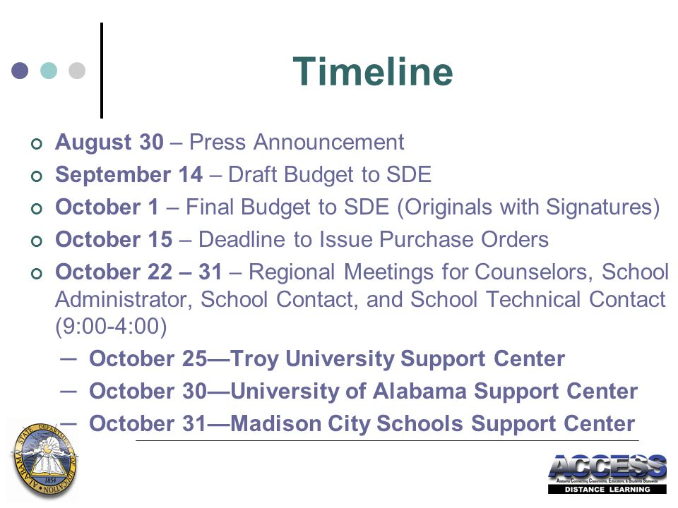 Timeline August 30 – Press Announcement September 14 – Draft Budget to SDE October 1 – Final Budget to SDE (Originals with Signatures) October 15 – Deadline to Issue Purchase Orders October 22 – 31 – Regional Meetings for Counselors, School Administrator, School Contact, and School Technical Contact (9:00-4:00) ─ October 25—Troy University Support Center ─ October 30—University of Alabama Support Center ─ October 31—Madison City Schools Support Center