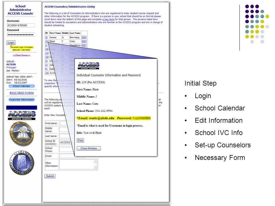 Initial Step Login School Calendar Edit Information School IVC Info Set-up Counselors Necessary Form