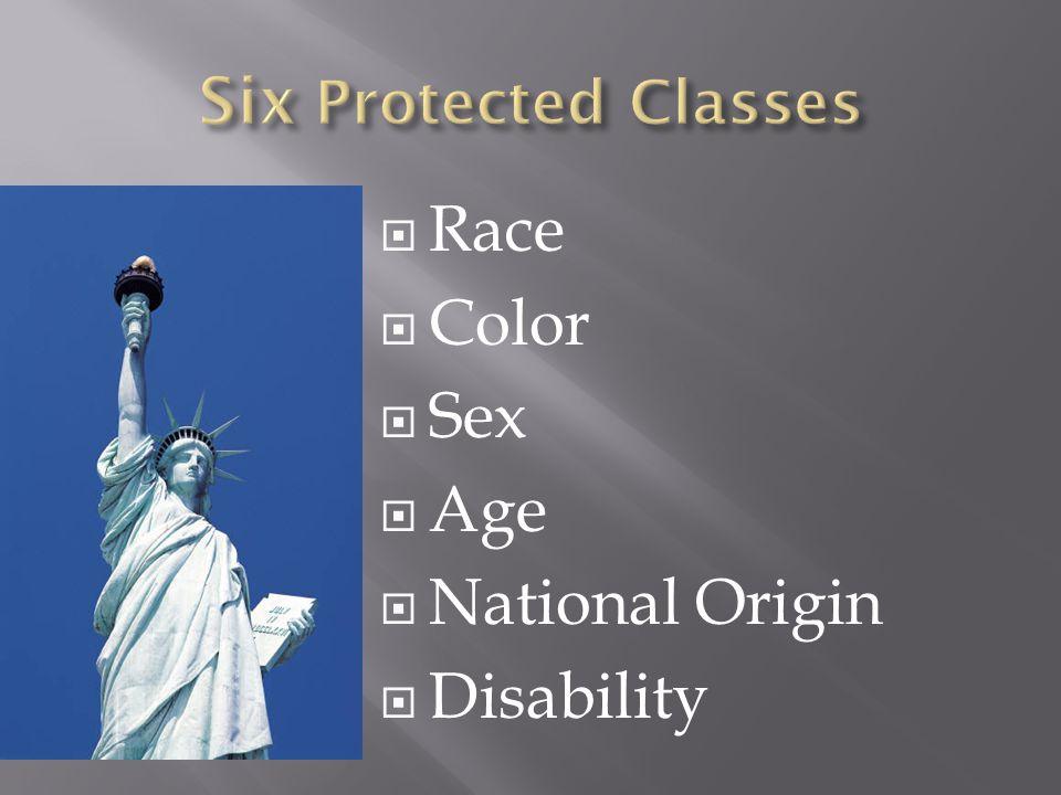  Race  Color  Sex  Age  National Origin  Disability