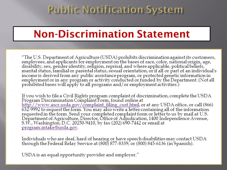 " ""The U.S. Department of Agriculture (USDA) prohibits discrimination against its customers, employees, and applicants for employment on the bases of"
