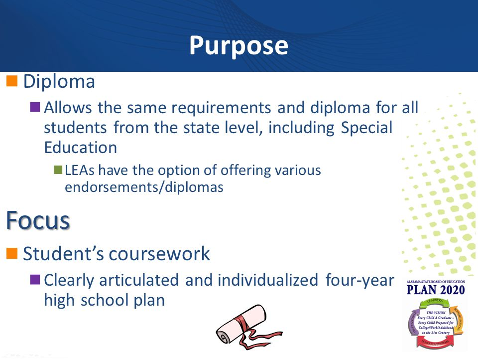 alcareerinfo.org Diploma Allows the same requirements and diploma for all students from the state level, including Special Education LEAs have the option of offering various endorsements/diplomasFocus Student's coursework Clearly articulated and individualized four-year high school plan Purpose