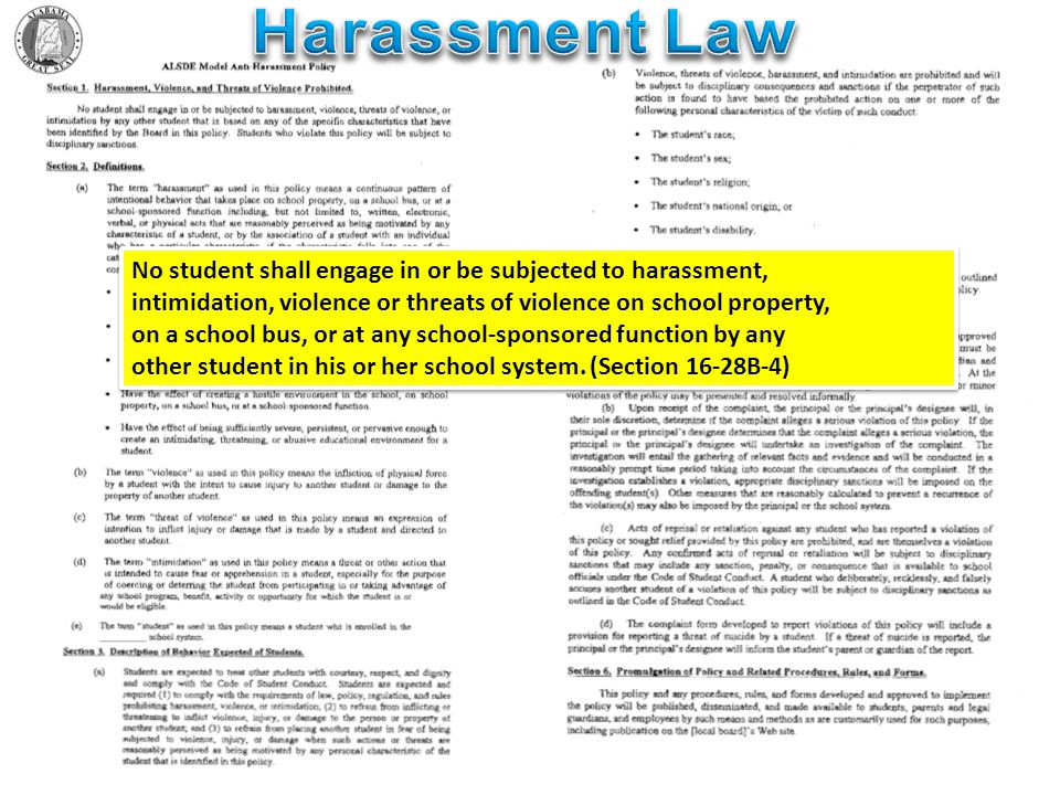 No student shall engage in or be subjected to harassment, intimidation, violence or threats of violence on school property, on a school bus, or at any school-sponsored function by any other student in his or her school system.
