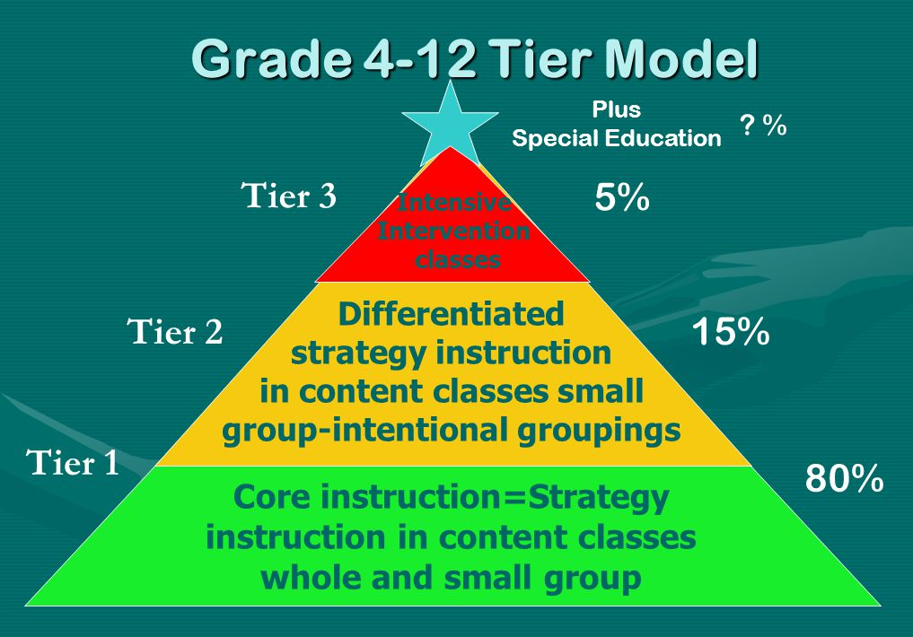 Grade 4-12 Tier Model Intensive Intervention classes Differentiated strategy instruction in content classes small group-intentional groupings Core ins