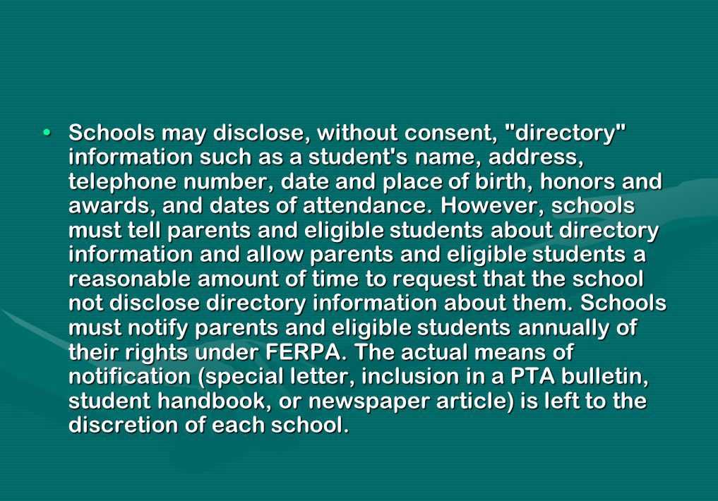 Schools may disclose, without consent,
