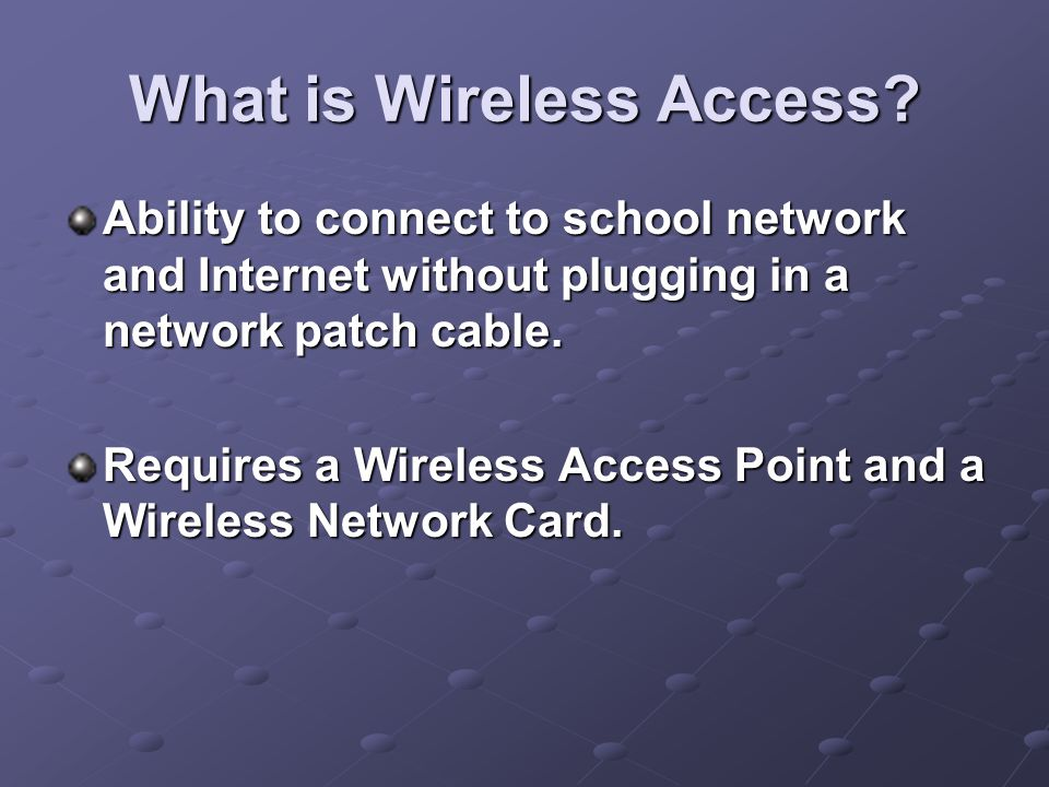 What Wireless Access is not.It is not cellular or satellite Internet.