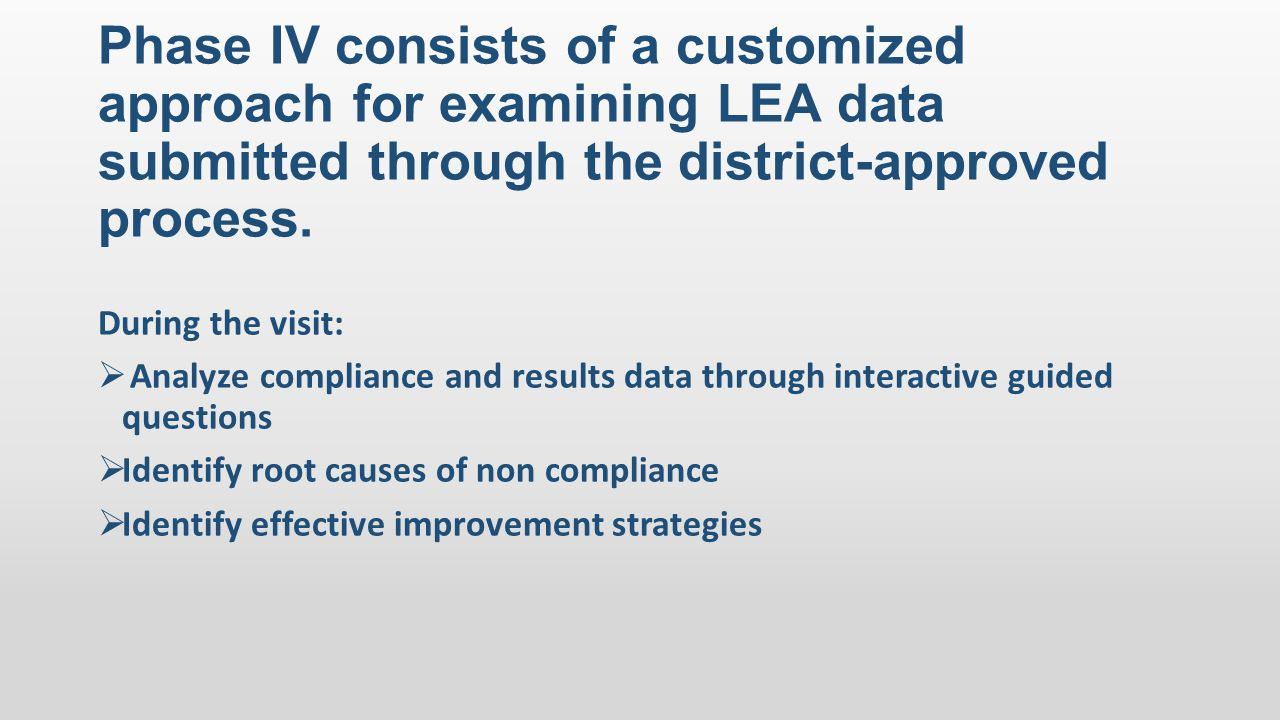 Phase IV consists of a customized approach for examining LEA data submitted through the district-approved process. During the visit:  Analyze complia
