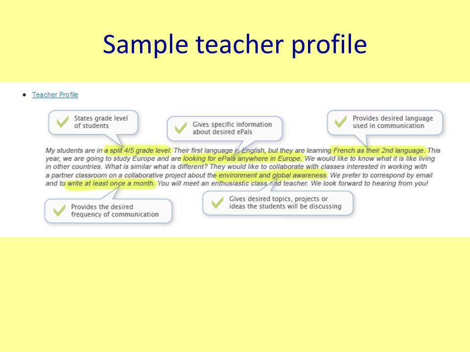 Sample teacher profile