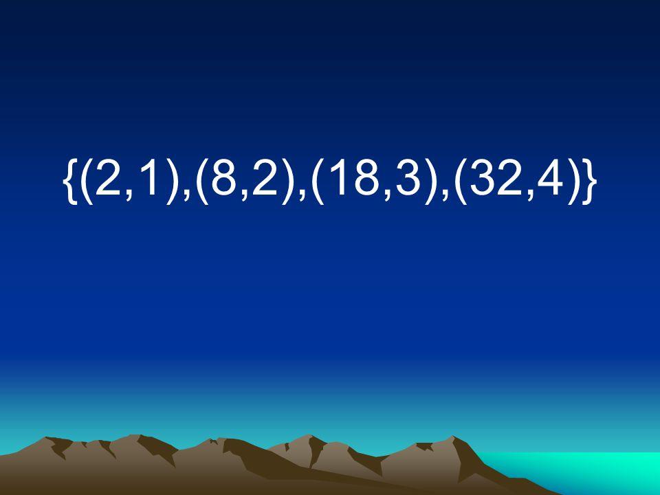 {(2,1),(8,2),(18,3),(32,4)}