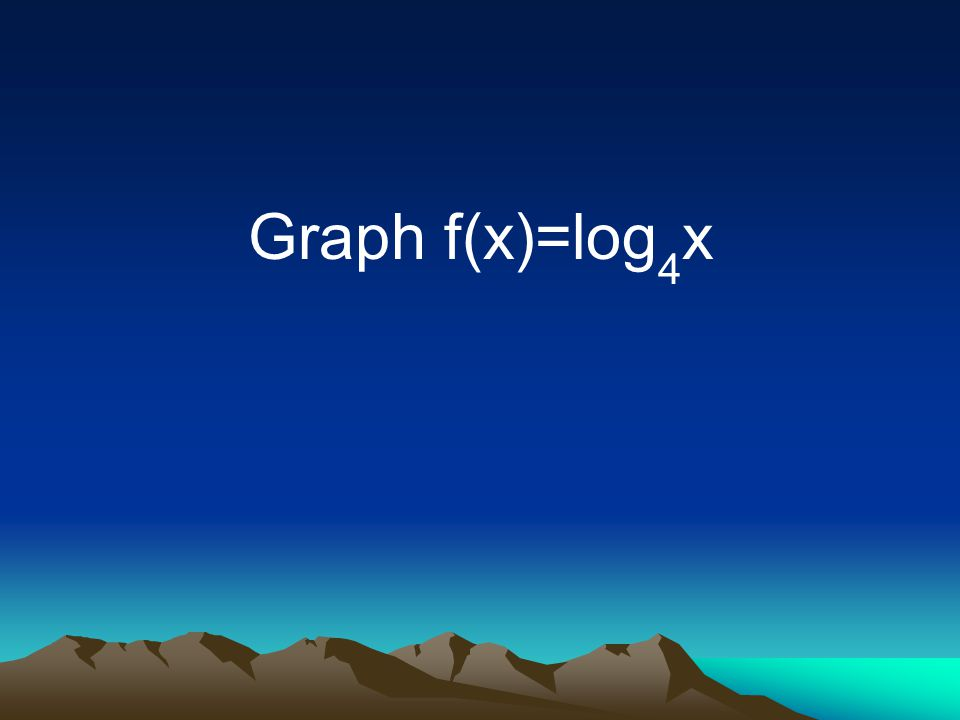 Graph f(x)=log 4 x