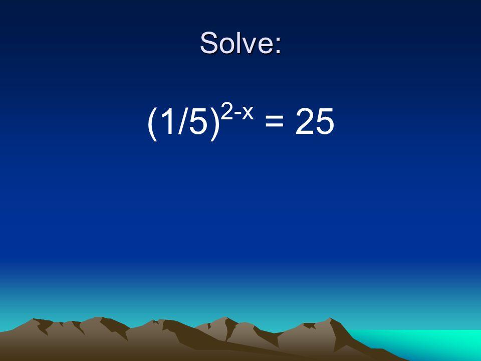 Solve: (1/5) 2-x = 25