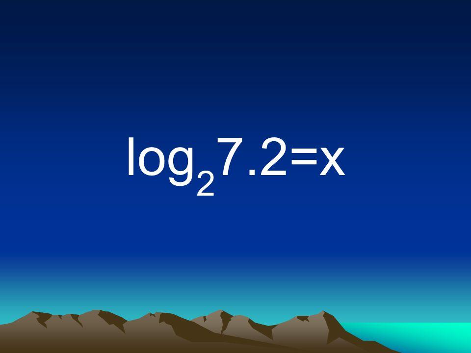 log 2 7.2=x