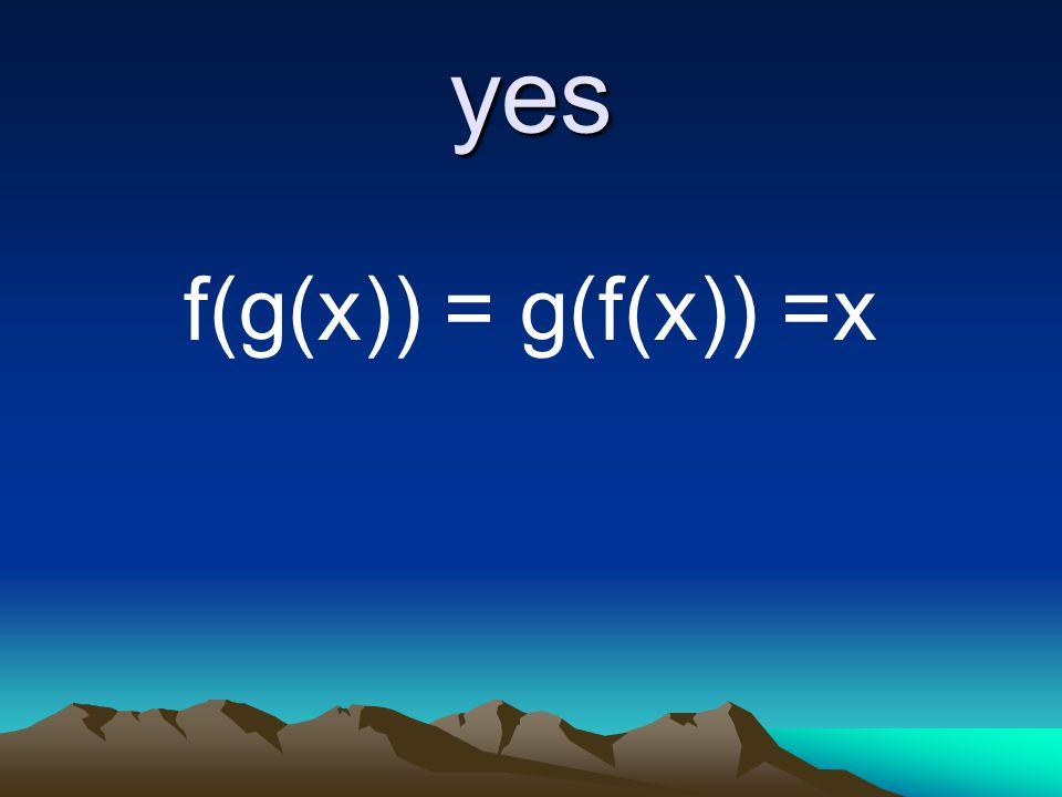 yes f(g(x)) = g(f(x)) =x