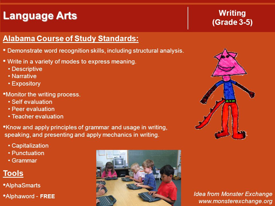 Language Arts Writing (Grade 3-5) Alabama Course of Study Standards: Demonstrate word recognition skills, including structural analysis.