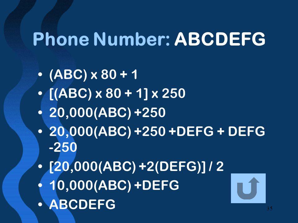 35 Phone Number: ABCDEFG (ABC) x 80 + 1 [(ABC) x 80 + 1] x 250 20,000(ABC) +250 20,000(ABC) +250 +DEFG + DEFG -250 [20,000(ABC) +2(DEFG)] / 2 10,000(ABC) +DEFG ABCDEFG