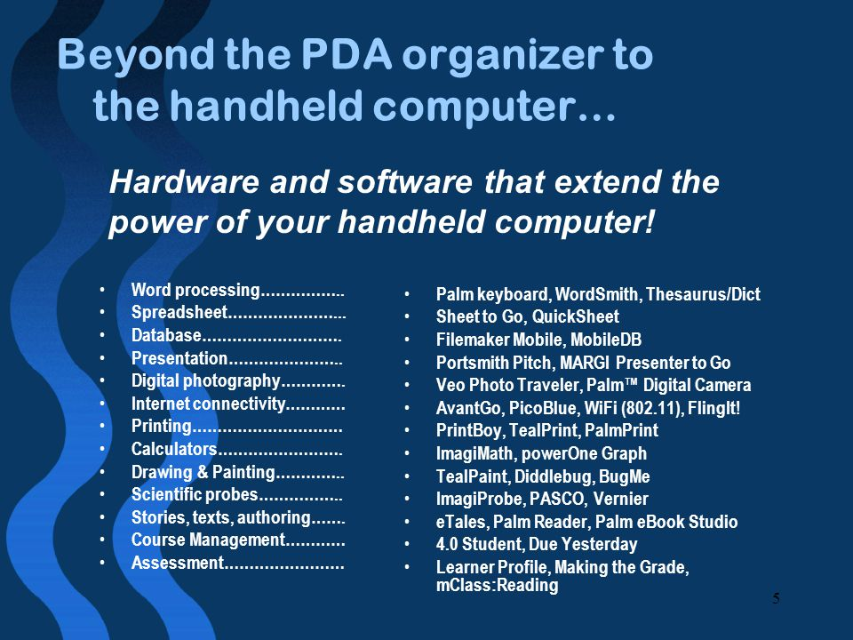 5 Beyond the PDA organizer to the handheld computer… Word processing……………..