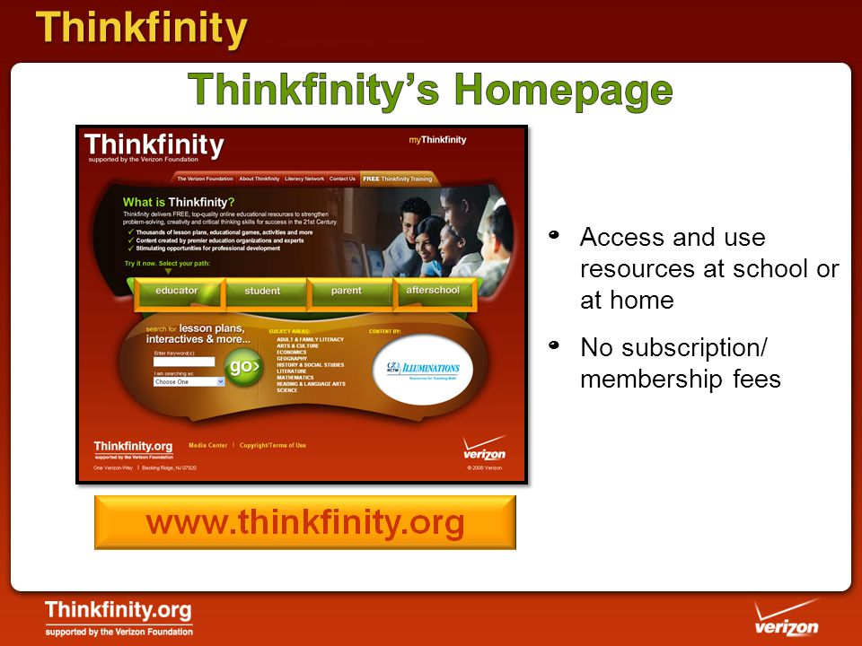 º Access and use resources at school or at home º No subscription/ membership fees