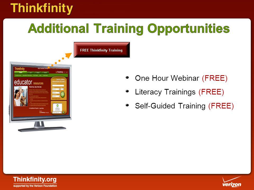 º One Hour Webinar (FREE) º Literacy Trainings (FREE) º Self-Guided Training (FREE)