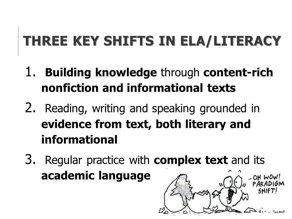 THREE KEY SHIFTS IN ELA/LITERACY 1.
