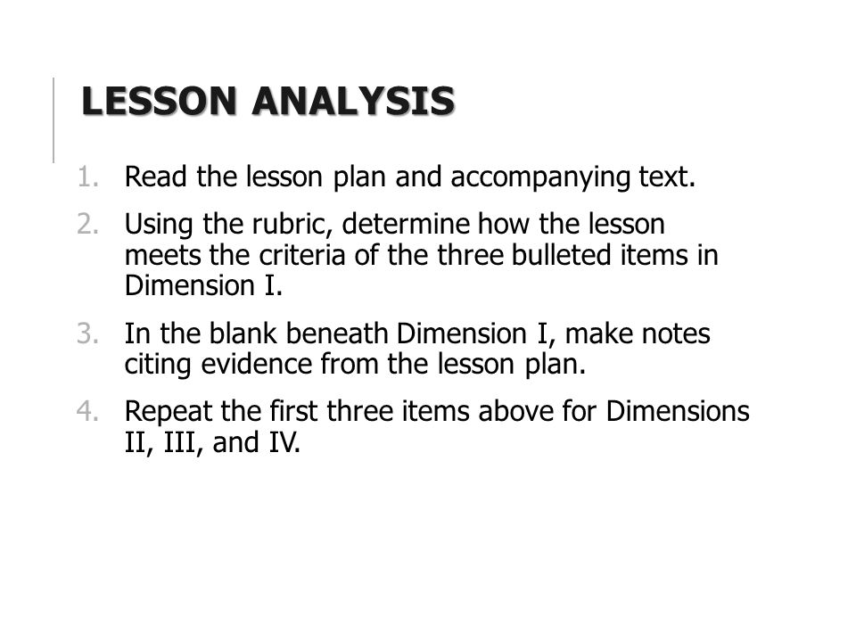 LESSON ANALYSIS 1.Read the lesson plan and accompanying text.